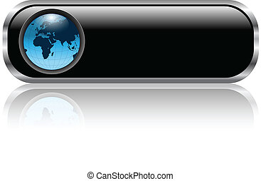 Blank web button - Blank black web button with earth globe...
