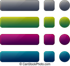 Blank web glossy buttons. Vector