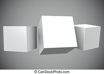 Blank white 3D cubes with copy space vector template.