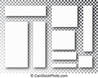 Blank white 3d paper canvas or photo frames isolated on transparent background. Collage concept. Collage templates parts, picture or illustration