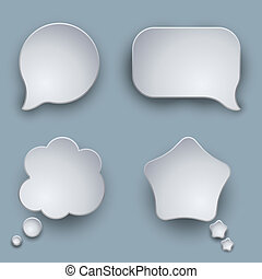 Blank white 3D speech balloons vector template with shadow.