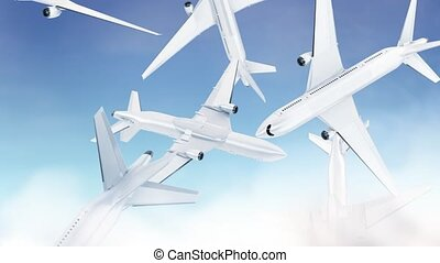 Blank white airplane falling mockup, looped switch, sky background, depth of field, 3d rendering. Empty crash airship in heaven mock up slowmo. Clear charter boeing model cycled template.