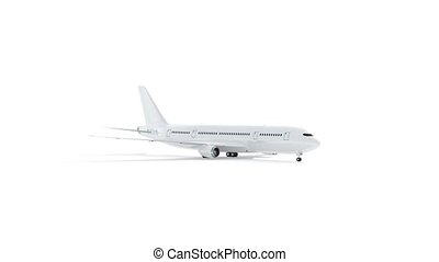Blank white airplane mock up, looped rotation, 3d rendering. Empty rotating boeing model with wing and cockpit mockup isolated. Clear company airline transport mokcup template.