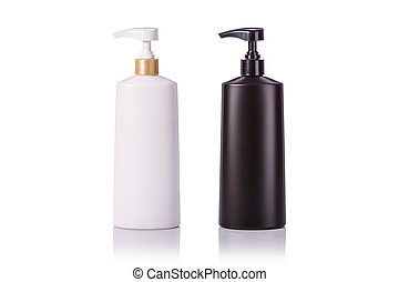 Blank white and black plastic pump bottle used for shampoo...