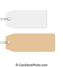 Blank white and brown price tags hanging on the wall
