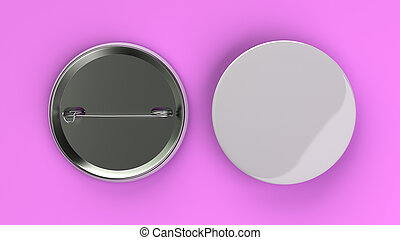 Blank white badge on purple background