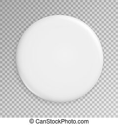 Blank White Badge Vector. Realistic Illustration. Clean Empty Pin Button Mock Up. Isolated.
