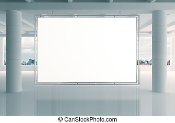 Blank white banner in modern empty open space office with big windows and pillars, mock up
