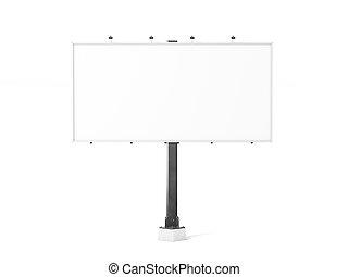 Blank white banner mock up on city billboard,