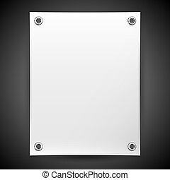 Blank white banner painted in the vector - Empty white...