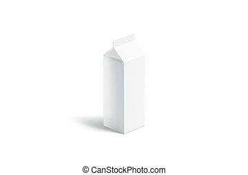 Blank white big milk pack mockup, side view, 3d rendering. ...