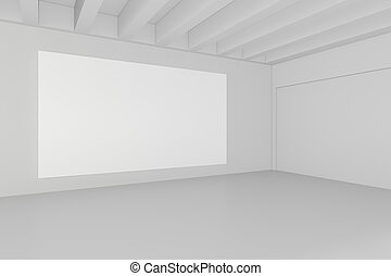 Blank white billboard in empty room with big windows, mock up, 3D Rendering