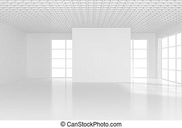 Blank white billboard in empty room with big windows, mock up, 3D Rendering