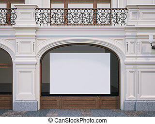 Blank white billboard on a glass of store. 3d rendering