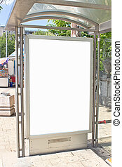 Blank white billboard sign on bus station