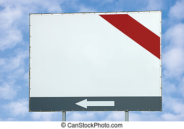 Blank white billboard with red and grey bar and arrow over light cloudscape