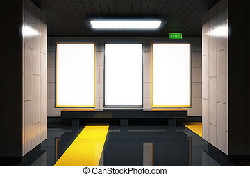 Blank white billboards in empty subway hall, mock up