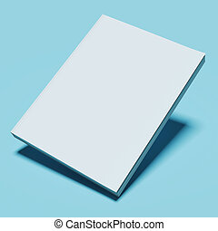 Blank white book isolated on blue background