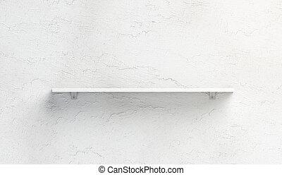 Blank white book shelf mockup mounted on wall - Blank white...