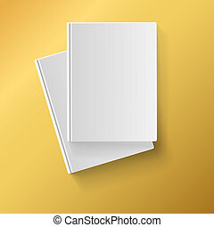 Blank white books on yellow background