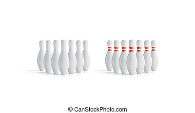 Blank white bowling skittles set mock up, front view