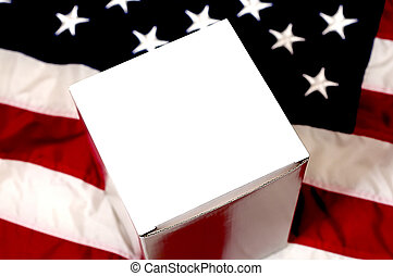 Blank White Box and American Flag