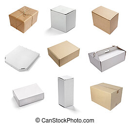 blank white box container - collection of various white ...