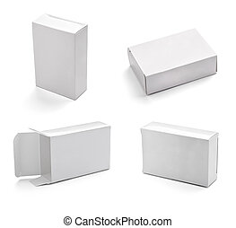 blank white box container - collection of white box on white...