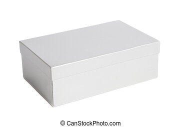 Blank white box container isolated on white background
