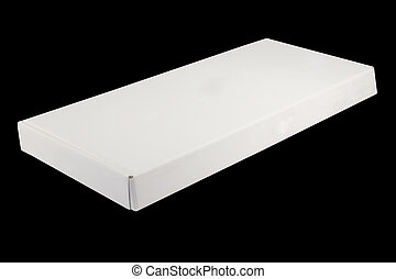 Blank white box isolated on black background