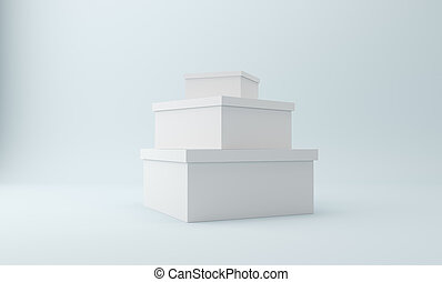 Isolated blank 3d rendering open square greeting cards on white blank white box isolated on white 3d rendering m4hsunfo