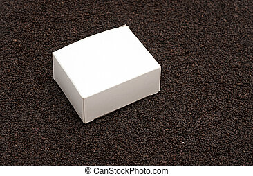 blank white box on black tea background