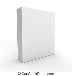 3d visual of a tall flat white box isolated on a white background
