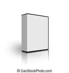 blank white box template on white background