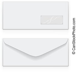 Blank white business envelop vector template.