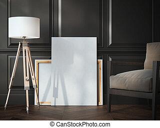 Blank white canvas in the black classic interior.