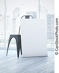 Blank white canvas near chair. 3d rendering