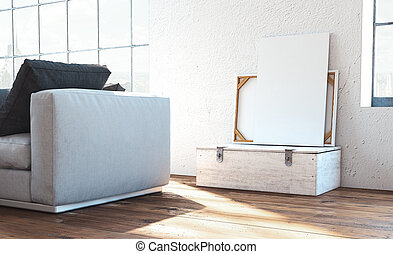 Blank white canvases on white wooden box next to white walls, 3d rendering.