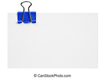 Blank white card with blue clip on white background