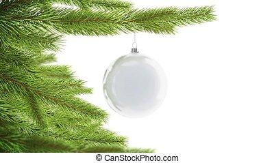 Blank white christmas ball hanging on pine mockup, looped...