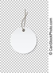 Blank white circle paper price tag isolated on transparent background