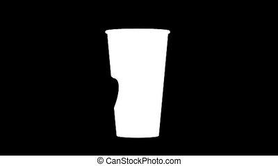 Blank white coffee cup opened plastic lid mock up, clipping...