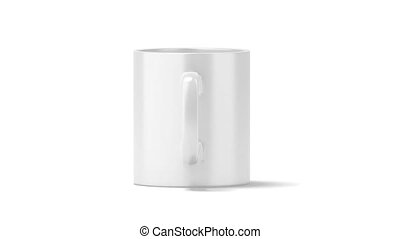 Blank white coffee mug mock up, looped rotation, clipping...