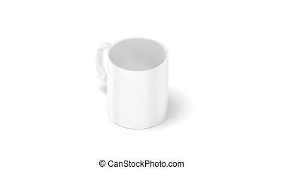 Blank white coffee mug mockup isolated, looped rotation,...