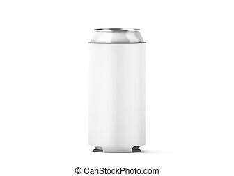 Blank white collapsible beer can koozie mock up isolated,...