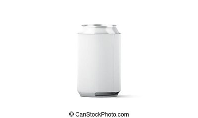 Blank white collapsible beer can koozie mockup isolated,...