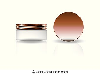 Blank white cosmetic round jar with copper lid for beauty product packaging.