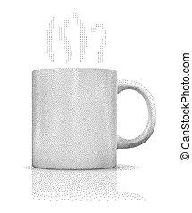 Blank white cup made of stipples