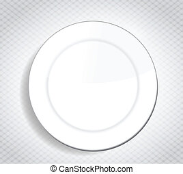 blank white dinner plate over a cloth