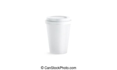 Blank white disposable paper cup mock up isolated, looped...